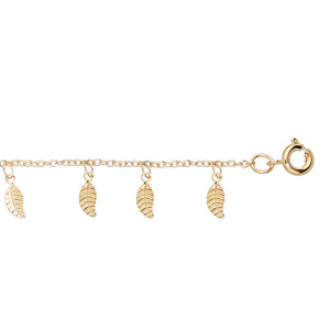 Chaîne de cheville en plaqué or avec pampilles feuilles 25cm réglable 23cm - Vue 1