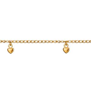 Chaîne de cheville en plaqué or avec 6 pampilles petits coeurs - longueur 22cm + 2cm de rallonge - Vue 1