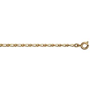 Chaîne en plaqué or figaro maille 1+1 largeur 2mm et longueur 45cm - Vue 1