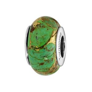 Charms en argent rhodié en pierre naturelle traitée turquoise verte - Vue 1