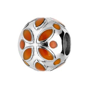 Charms en argent rhodié fleur orange - Vue 1