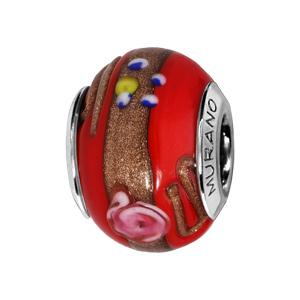 Charms en argent rhodié verre de Murano rouge avecmotifs et dorure - Vue 1