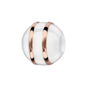 Charms Thabora boule en céramique blanche avec 2 filets en argent et PVD rose - Vue 1