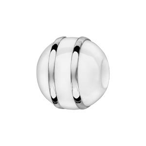 Charms Thabora boule en céramique blanche avec 2 filets en argent rhodié - Vue 1