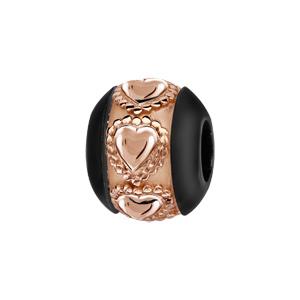 Charms Thabora boule en céramique noire avec 1 bande en argent et PVD rose ornée de coeurs ouvragés - Vue 1