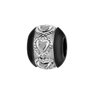 Charms Thabora boule en céramique noire avec 1 bande en argent ornée de coeurs ouvragés - Vue 1