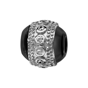 Charms Thabora boule en céramique noire avec 1 bande en argent rhodié cloutée aux bords et ornée d\'oxydes blancs sertis clos au milieu - Vue 1