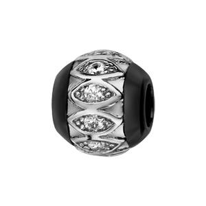 Charms Thabora boule en céramique noire avec 1 bande en argent rhodié ornée d\'amandes et oxydes blancs à l\'intérieur - Vue 1