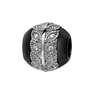 Charms Thabora boule en céramique noire avec 1 bande en argent rhodié ornée de feuilles avec oxydes blancs à l\'intérieur - Vue 1