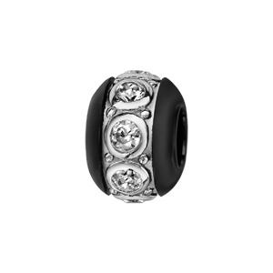 Charms Thabora boule en céramique noire avec 1 bande en argent rhodié ornée d\'oxydes blancs sertis clos - Vue 1
