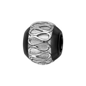 Charms Thabora boule en céramique noire avec 1 bande en argent rhodié ornée d\'un lacet sinueux - Vue 1