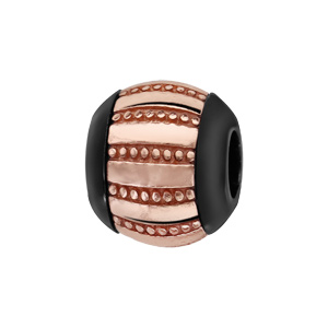 Charms Thabora boule en céramique noire avec 1 bande large en argent et PVD rose rayée lisse et petits clous - Vue 1