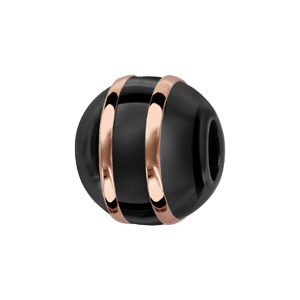 Charms Thabora boule en céramique noire avec 2 filets en argent et PVD rose - Vue 1