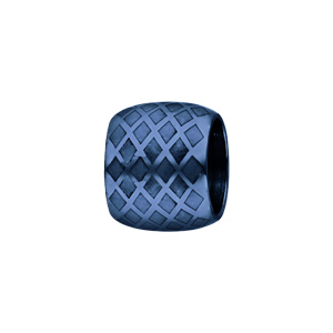 Charms Thabora en acier et PVD bleu forme tube quadrillage