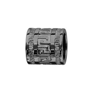 Charms Thabora en acier et PVD noir forme tube méandres grecs