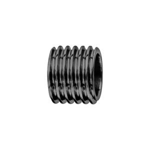 Charms Thabora en acier et PVD noir forme tube motif rainure