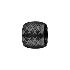 Charms Thabora en acier et PVD noir forme tube quadrillage
