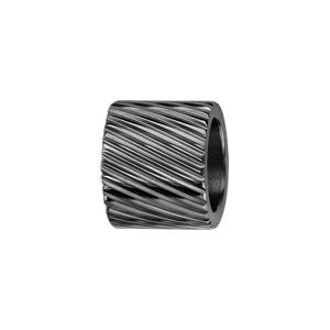 Charms Thabora en acier et PVD noir forme tube strié