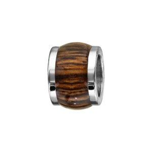 Charms Thabora en acier forme tonneau marron bois synthétique - Vue 1