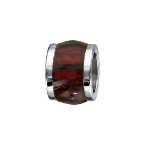 Charms Thabora en acier forme tonneau marron foncé bois synthétique