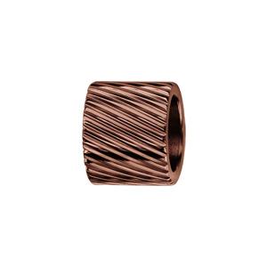 Charms Thabora en acier PVD marron forme tube strié