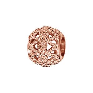 Charms Thabora en argent et dorure rose boule en petites billes avec motifs ajourés - Vue 1