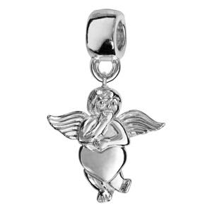 Charms Thabora en argent rhodié angelot tenant un coeur suspendu