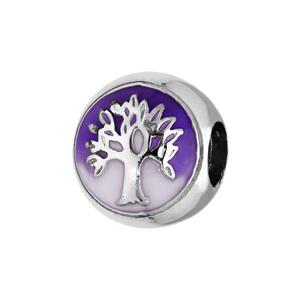 Charms Thabora en argent rhodié arbre de vie sur fond mauve - Vue 1