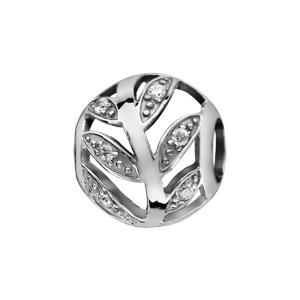 Charms Thabora en argent rhodié boule ajourée en forme de feuilles ornées d\'oxydes blancs - Vue 1