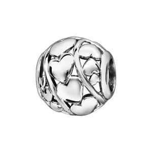 Charms Thabora en argent rhodié boule ajourée en 3 rangées de coeurs - Vue 1