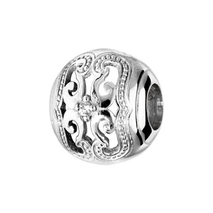 Charms Thabora en argent rhodié boule avec arabesque finement ciselée et oxyde blanc serti - Vue 1