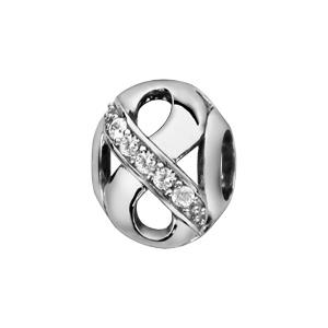 Charms Thabora en argent rhodié boule avec symbole infini ajouré et orné d\'oxydes blancs sur une partie - Vue 1