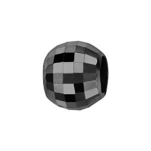 Charms Thabora en argent rhodié boule en céramique noire facettée - Vue 1