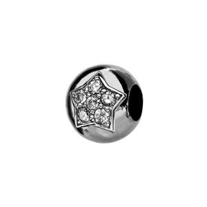Charms Thabora en argent rhodié boule ornée d\'1 étoile pavée de 5 oxydes blancs sertis - Vue 1
