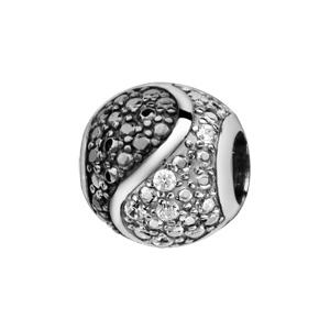 Charms Thabora en argent rhodié boule ornée d'oxydes noirs et blancs séparés en forme de S