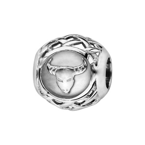 Charms Thabora en argent rhodié boule zodiaque taureau - Vue 1