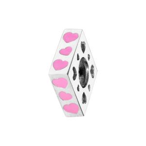 Charms Thabora en argent rhodié carré avec coeurs rose - Vue 1