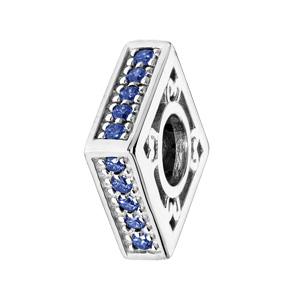 Charms Thabora en argent rhodié carré empierré bleu - Vue 1