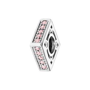 Charms Thabora en argent rhodié carré empierré rose - Vue 1