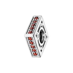 Charms Thabora en argent rhodié carré empierré rouge - Vue 1