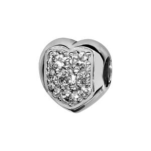 Charms Thabora en argent rhodié coeur arrondi orné d'oxydes blancs sertis