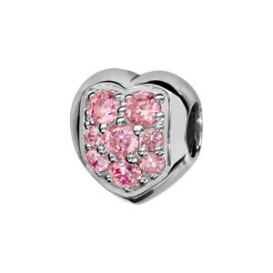 Charms Thabora en argent rhodié coeur arrondi orné d\'oxydes roses sertis - Vue 1