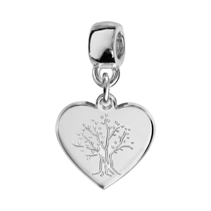 Charms Thabora en argent rhodié coeur suspendu gravé arbre de vie - Vue 1