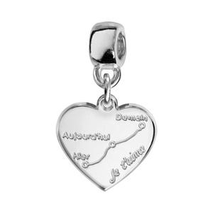 Charms Thabora en argent rhodié coeur suspendu gravé courbe de l\'amour - Vue 1