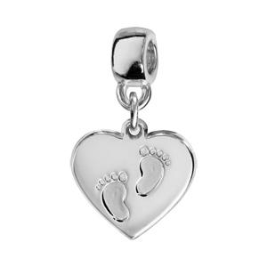 Charms Thabora en argent rhodié coeur suspendu gravé empreintes 2 pieds - Vue 1