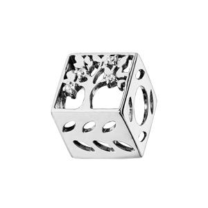 Charms Thabora en argent rhodié cube avec abre de vie oxydes blancs - Vue 1