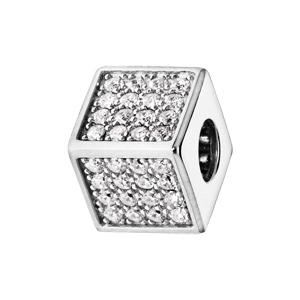 Charms Thabora en argent rhodié cube empierré d\'oxydes blancs - Vue 1