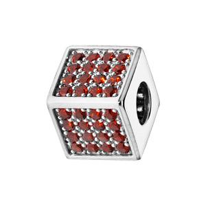 Charms Thabora en argent rhodié cube empierré d\'oxydes rouges - Vue 1
