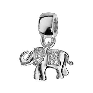 Charms Thabora en argent rhodié éléphant oxydes blancs sertis - Vue 1