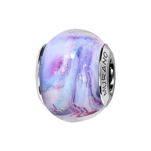 Charms Thabora en argent rhodié et verre de Murano filets bleus et violets pastels - Vue 1